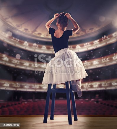 905560090 istock photo Baby girl dreaming a dancing ballet on the stage. Childhood concept 905580420