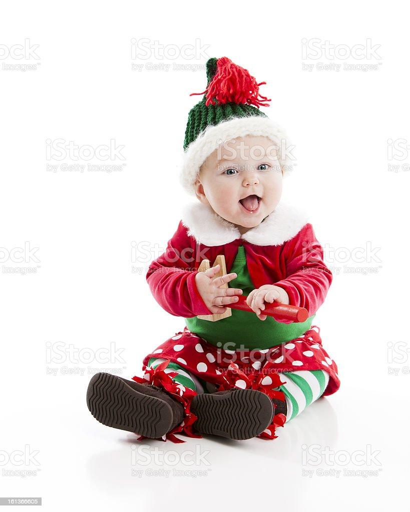 Ragazza bambino vestito come le Elf di Natale in rosso e verde foto stock  royalty- a3a1254b414