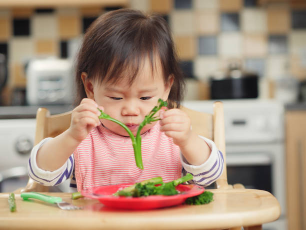 baby girl eating  vegetable at home stock photo