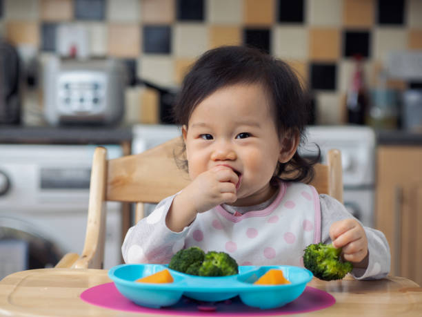 baby girl eating vegetable first time stock photo
