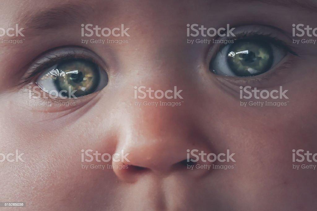 Baby girl eyes close up stock photo