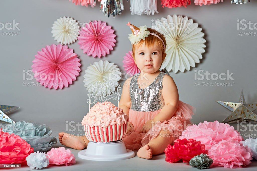 Fantastic Baby Girl First Birthday With Smash The Cake Idea Stock Photo Funny Birthday Cards Online Aeocydamsfinfo