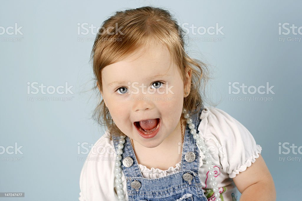 Baby girl in cotton dress royalty-free stock photo