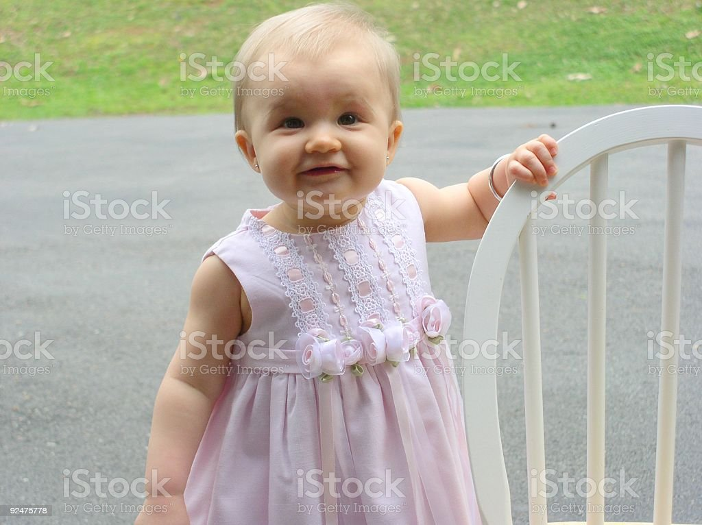 Baby Girl in Easter Dress royalty-free stock photo