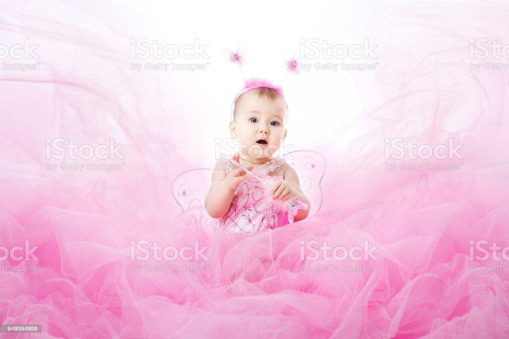 Baby Girl in Pink Dress Beautiful Child Portrait Infant Kid Dressed in Fairy Costume  sc 1 st  iStock & Baby Girl In Pink Dress Beautiful Child Portrait Infant Kid Dressed ...