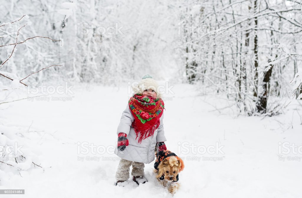 Baby girl in red scarf with small dog in a winter forest stock photo