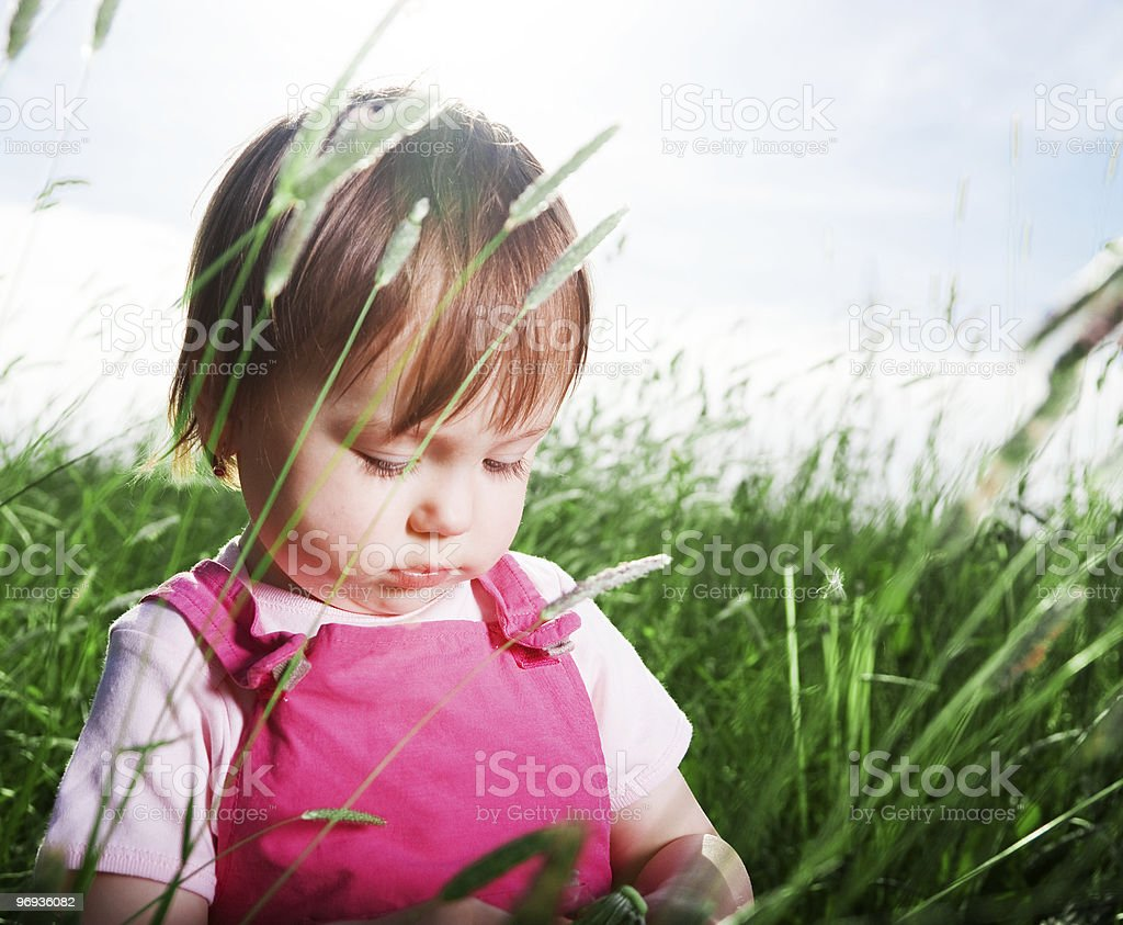 Baby girl in tall grass royalty-free stock photo
