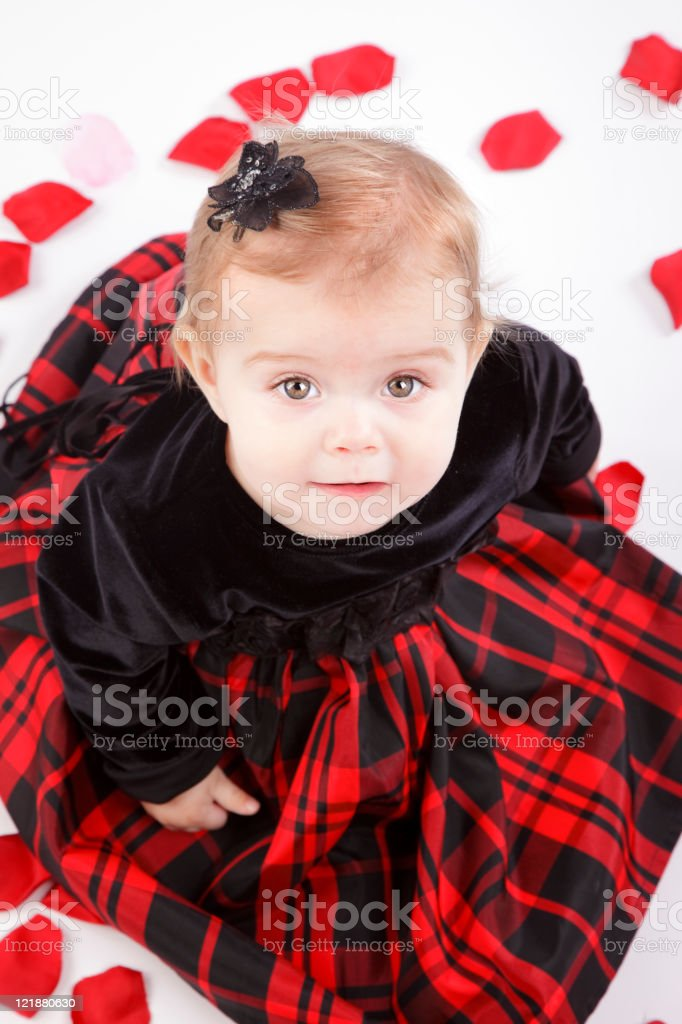 Baby Girl on Rose Petals royalty-free stock photo