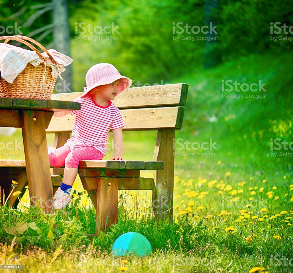 Baby Girl Outdoor in the Park stock photo