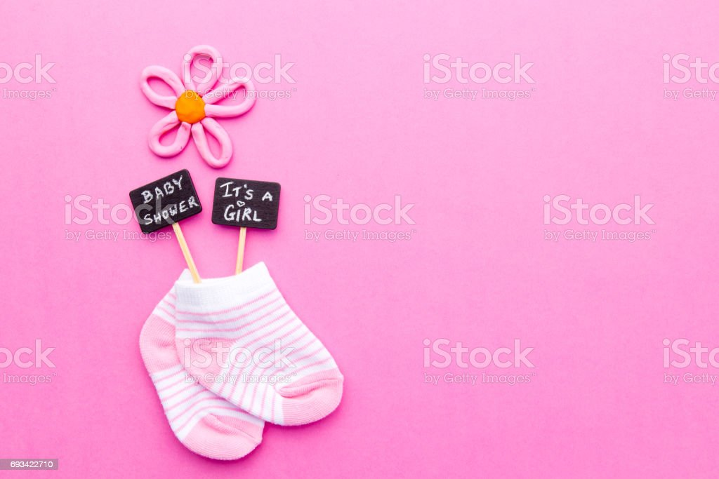 Baby Girl Pink And White Socks On Pink Background With