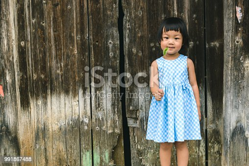 A baby girl playing foxtail barley  on the front of door