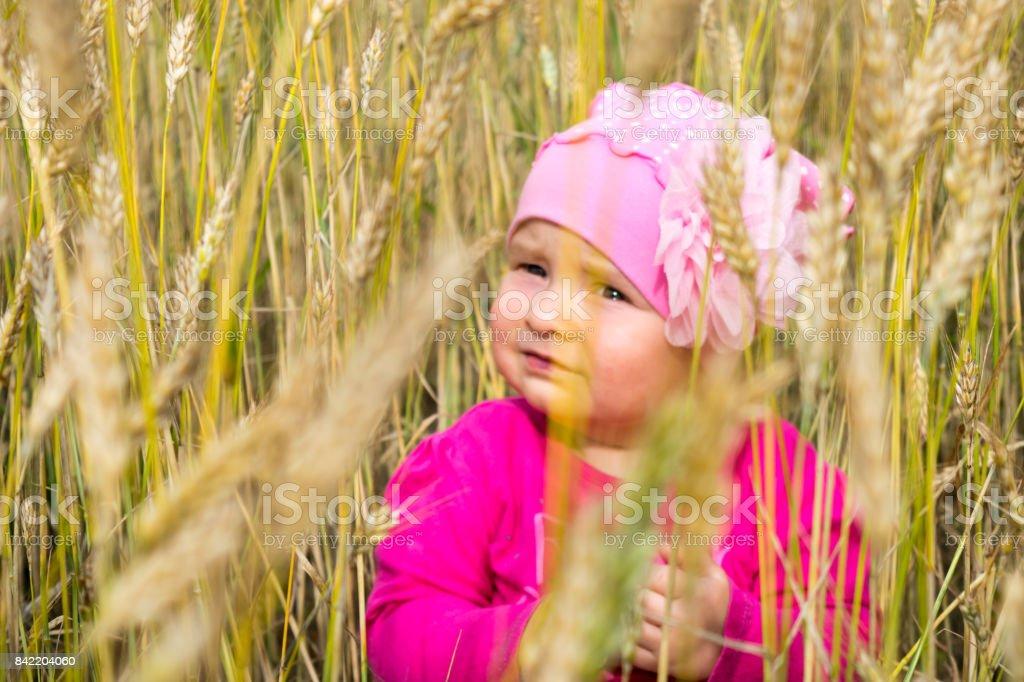 Niña jugando con una pajita y sentado en un campo de trigo amarillo. Fondo de verano hermoso - foto de stock