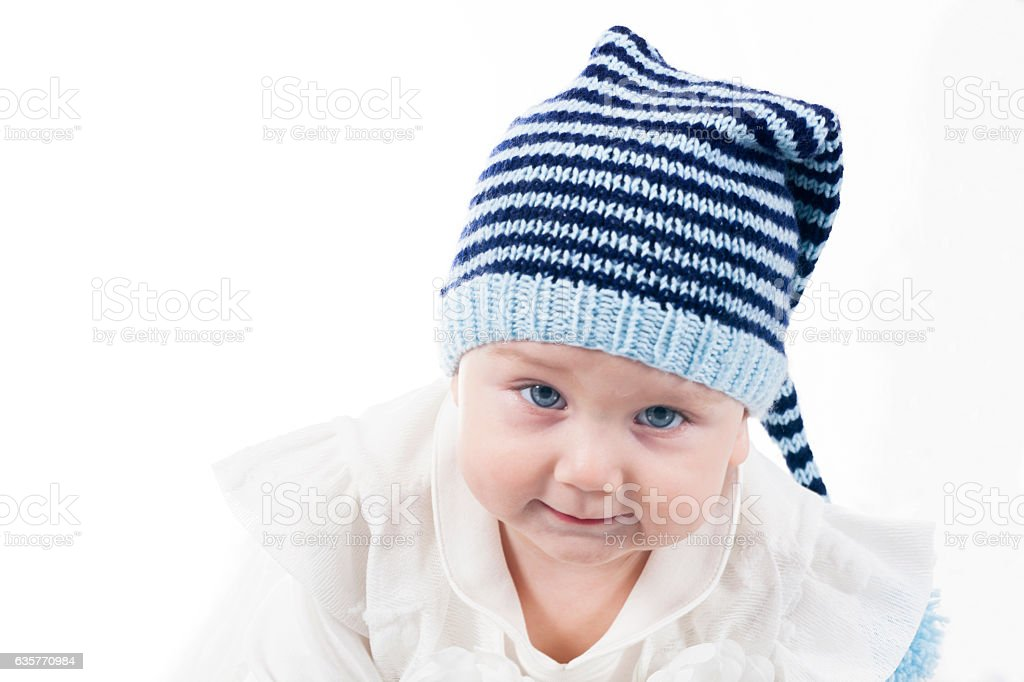Baby girl Portrait isolated on white stock photo