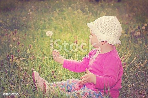 istock Baby girl sitting on green grass 498285255