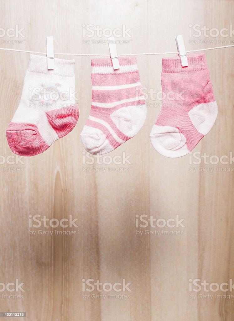 Baby girl socks stock photo