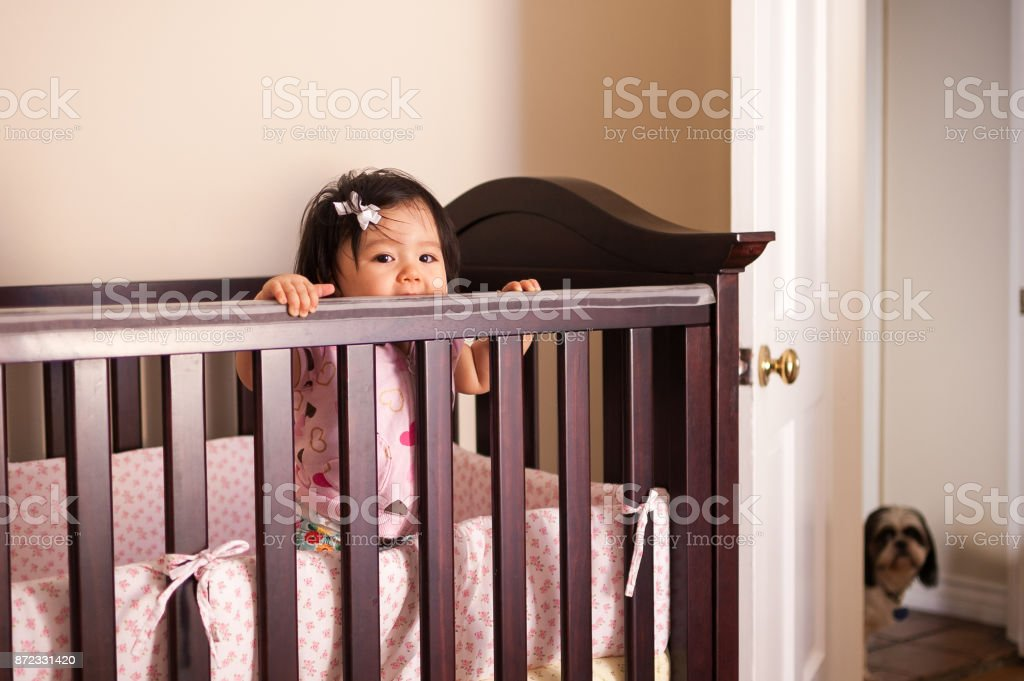 Baby girl standing in her wooden crib stock photo
