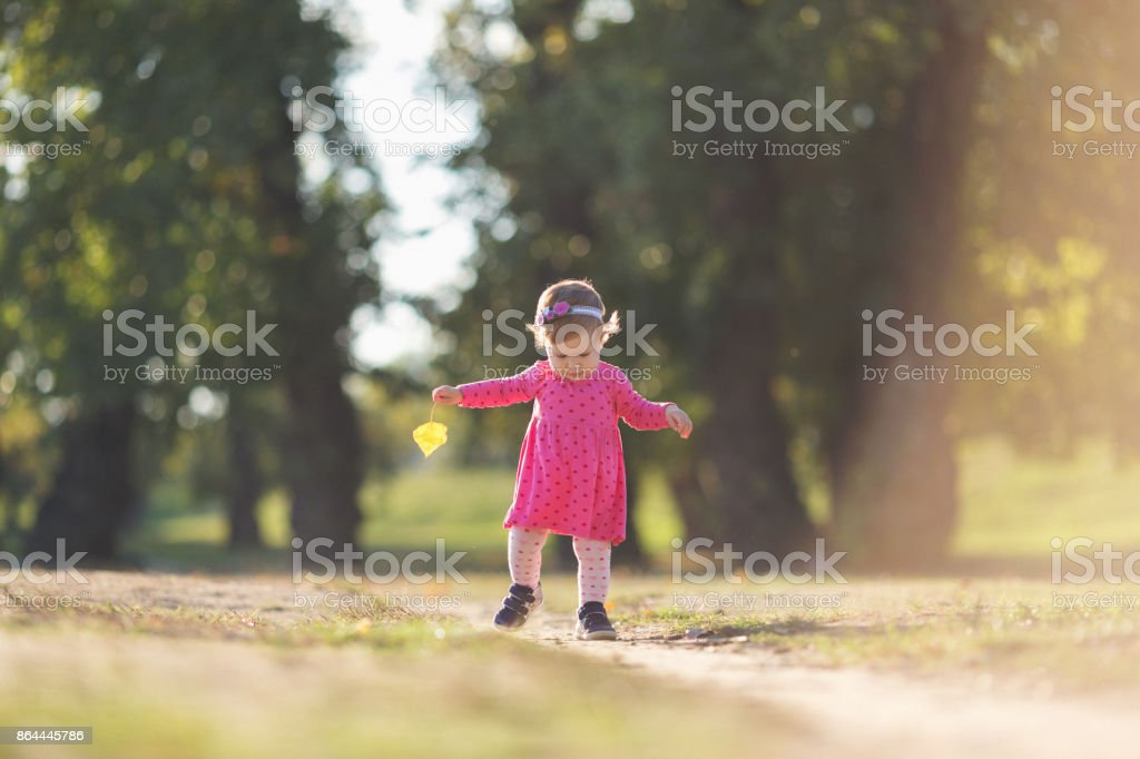 Baby girl taking her first steps outdoors stock photo
