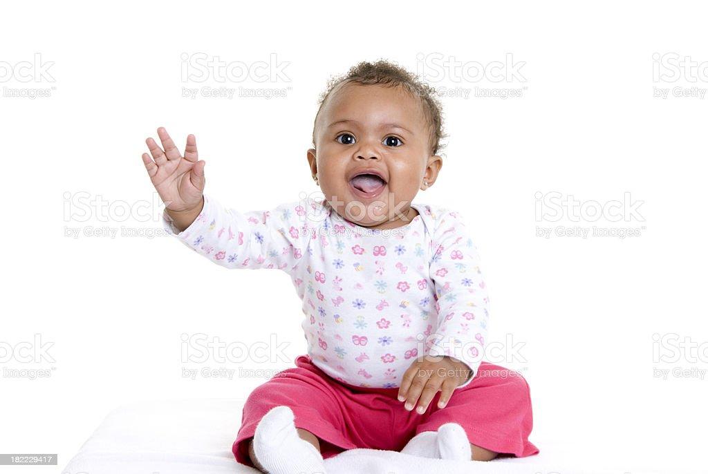 Baby Girl Waving stock photo