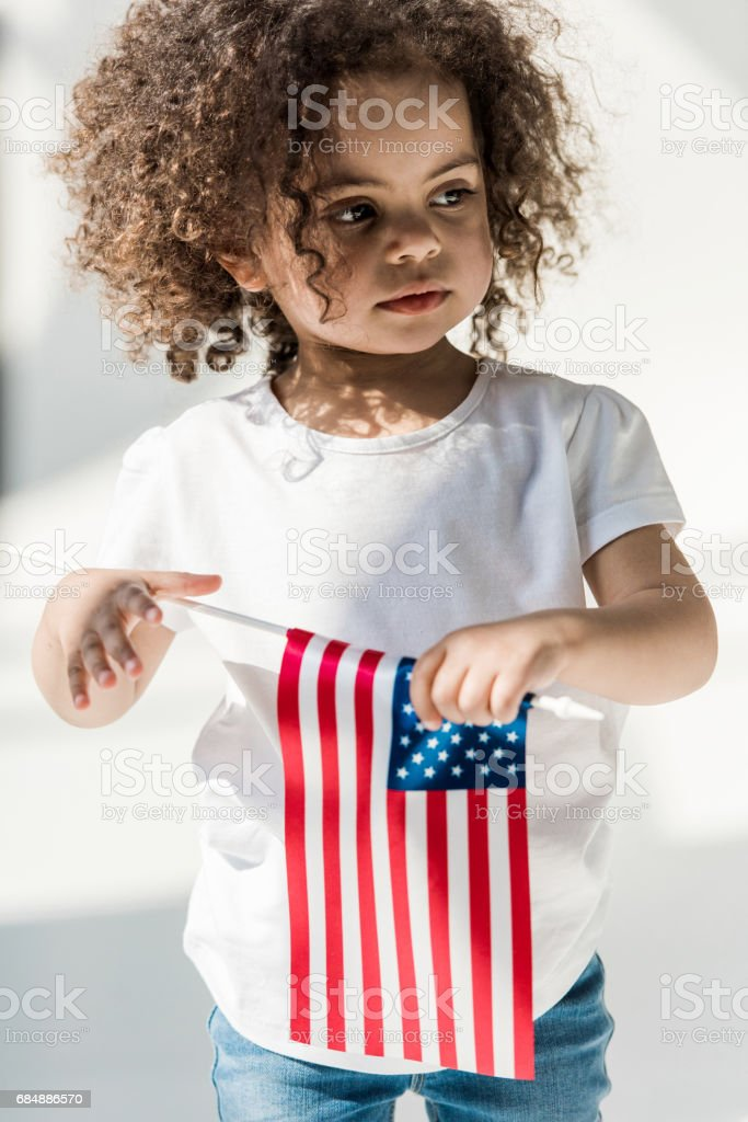 Baby Girl With American Flag Stock Photo & More Pictures of African
