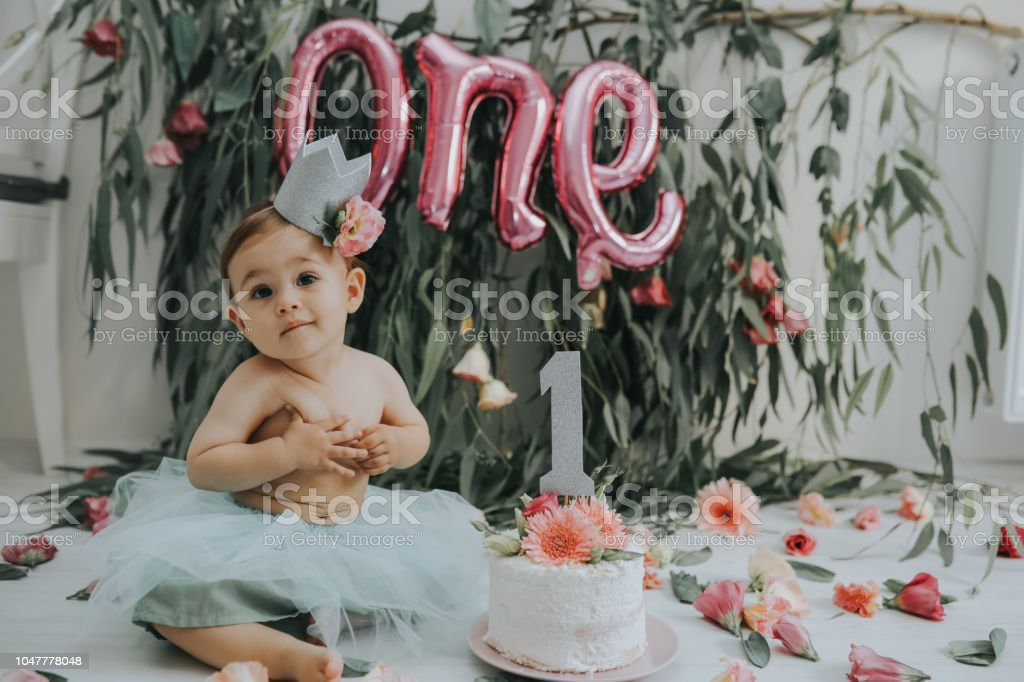Superb Baby Girl With First Birthday Cake Stock Photo Download Image Funny Birthday Cards Online Hendilapandamsfinfo