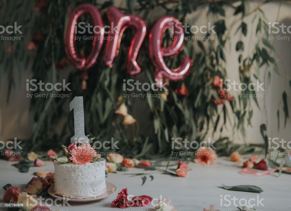 Baby Mädchen Mit Ersten Geburtstagkuchen Stockfoto Und Mehr Bilder