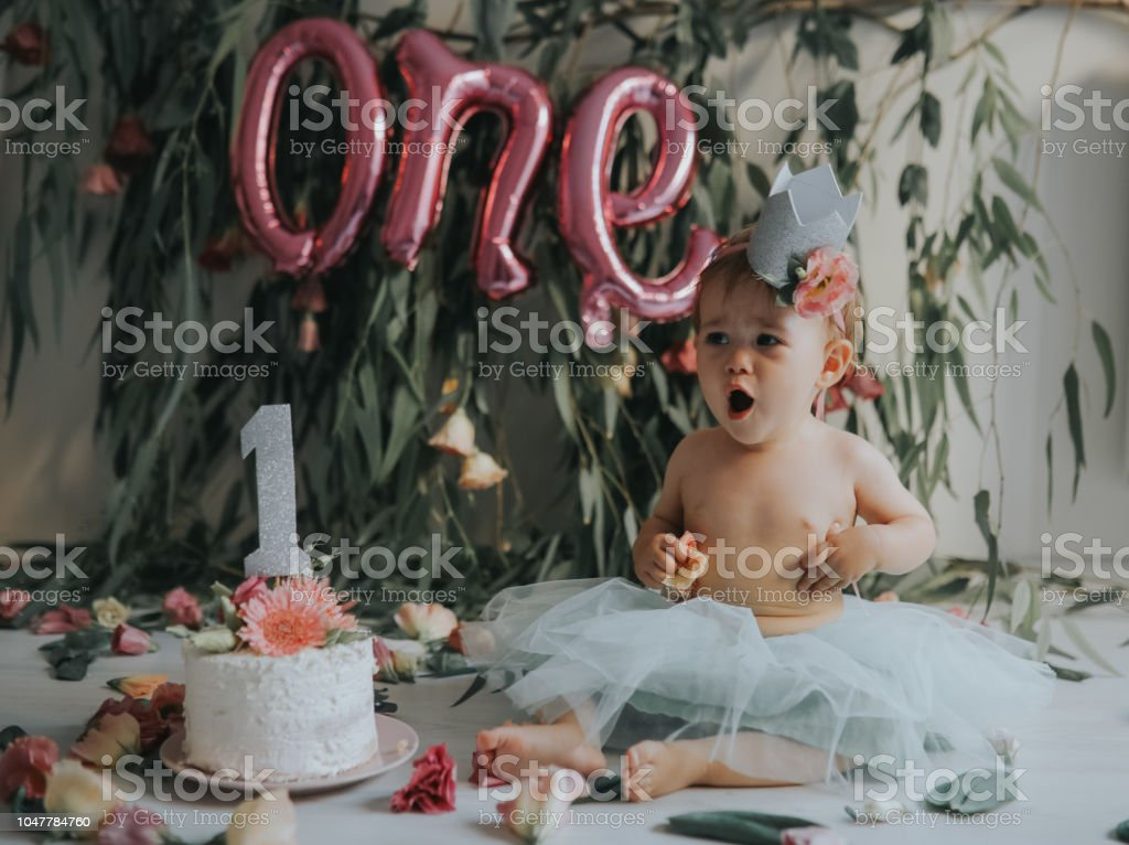 Astounding Baby Girl With First Birthday Cake Stock Photo Download Image Funny Birthday Cards Online Hendilapandamsfinfo