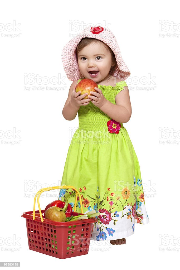 Baby girl with fruits royalty-free stock photo