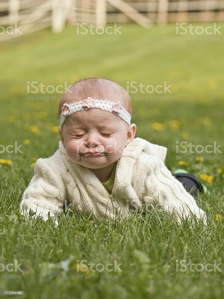 Baby Girl with Funny Look on her Face royalty-free stock photo