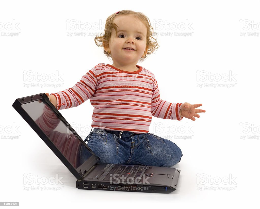 Baby girl with laptop royalty-free stock photo