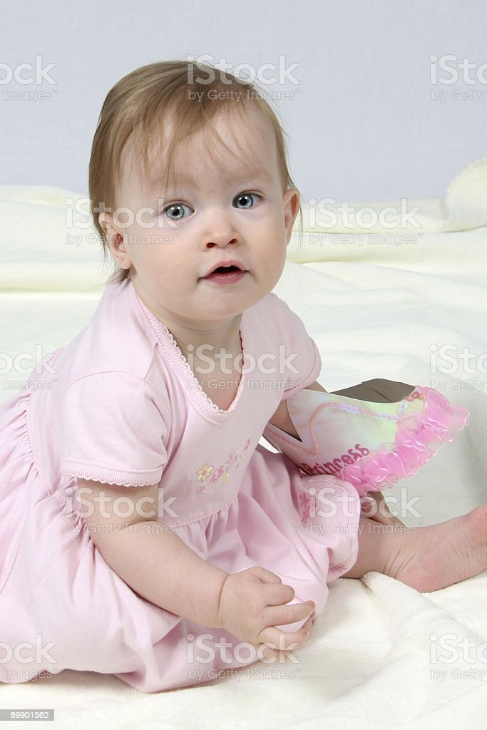 Baby Girl With Pink Dress royalty-free stock photo