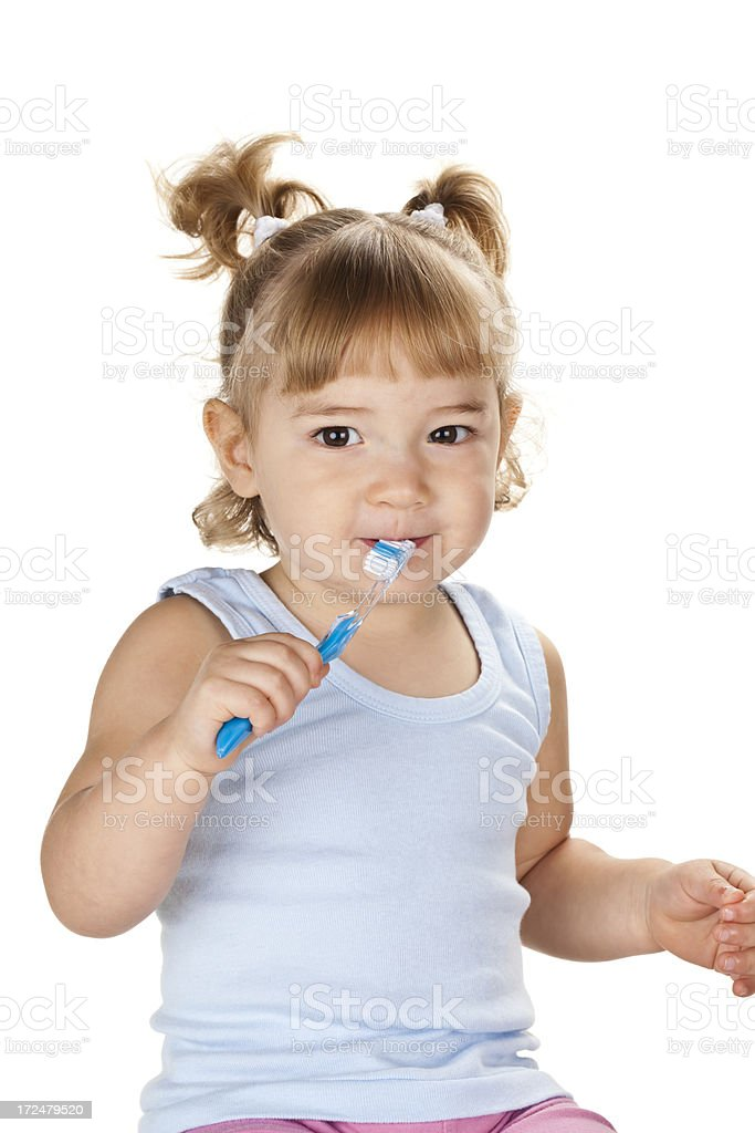 Baby Girl with Toothbrush royalty-free stock photo