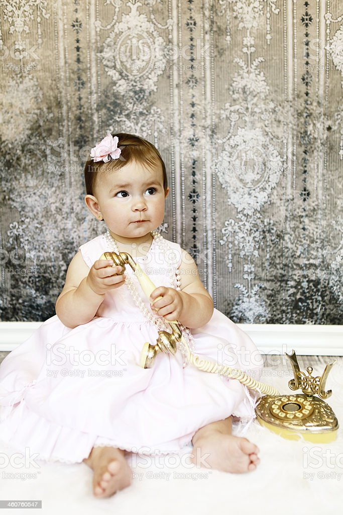 Baby Girl with Vintage Phone royalty-free stock photo