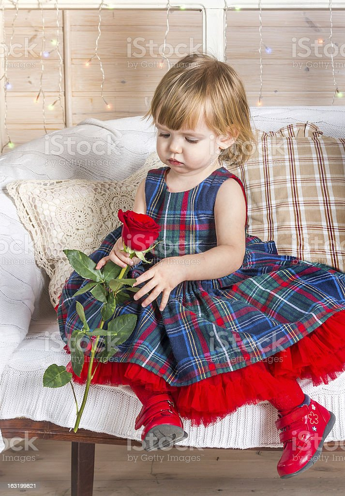 Baby girle with rose royalty-free stock photo