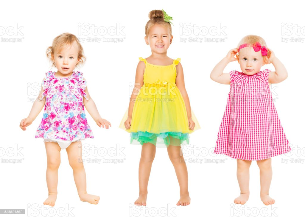 Baby Girls in Dress, Kids Group, Toddler Children Isolated over White stock photo