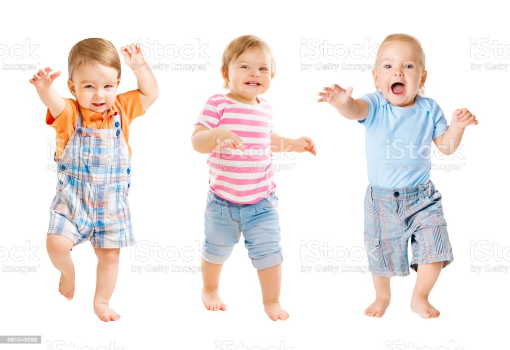 Baby Go, Funny Kids Expression, Playing Babies Isolated White Background, one year old stock photo