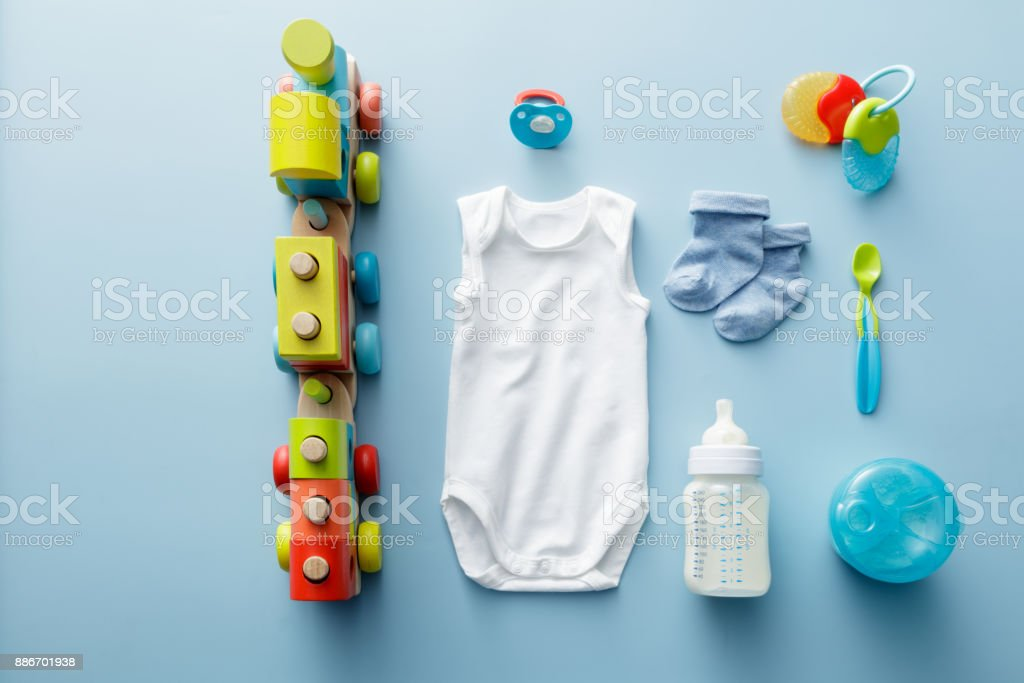 Baby Goods: Baby Goods for Boys Collection stock photo