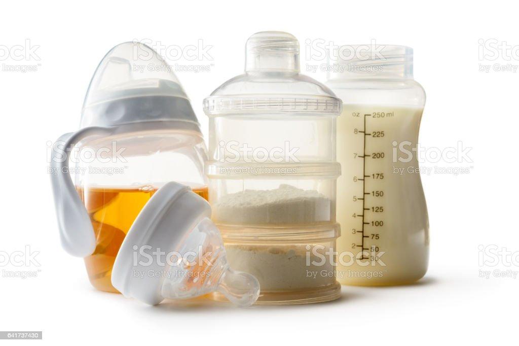 Baby Goods: Formula and Baby Bottle Isolated on White Background stock photo