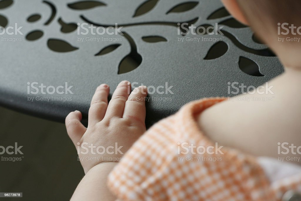 baby hand and table royalty-free stock photo
