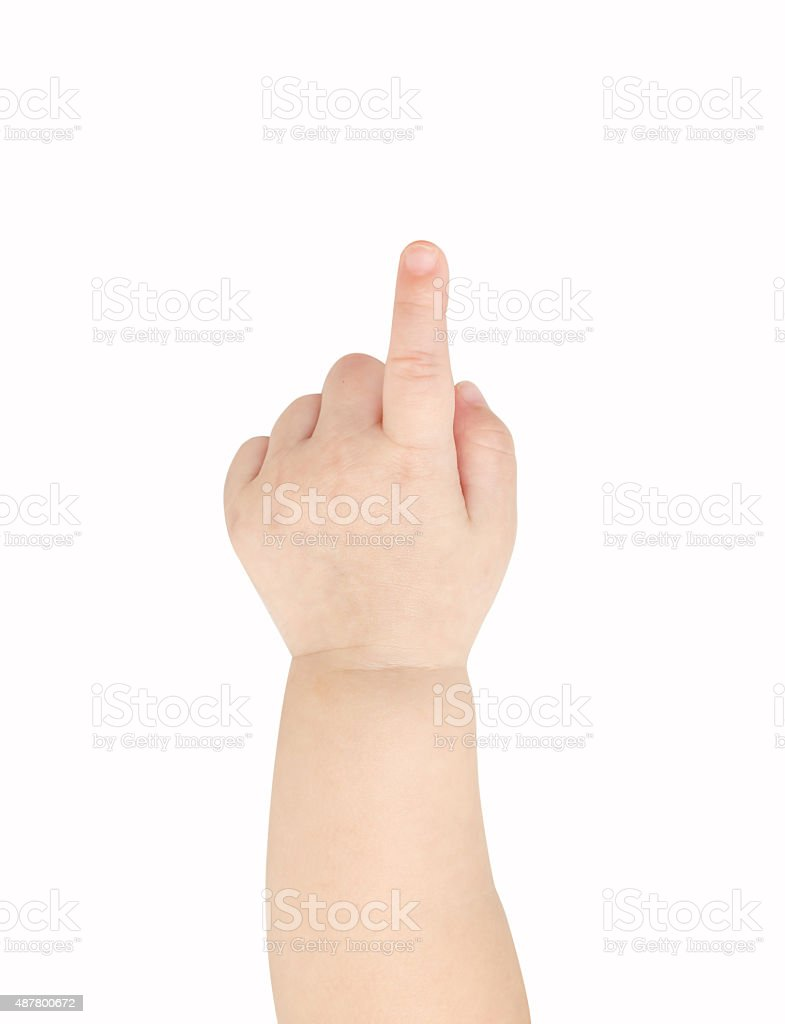 Baby hand pointing stock photo