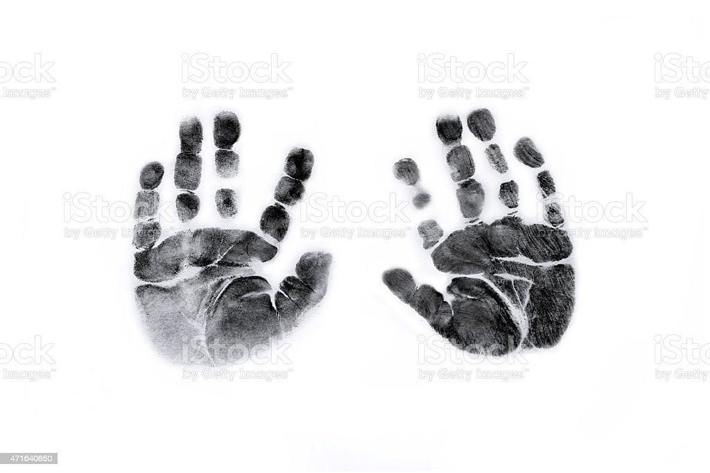 Baby Handprints in Black Ink stock photo
