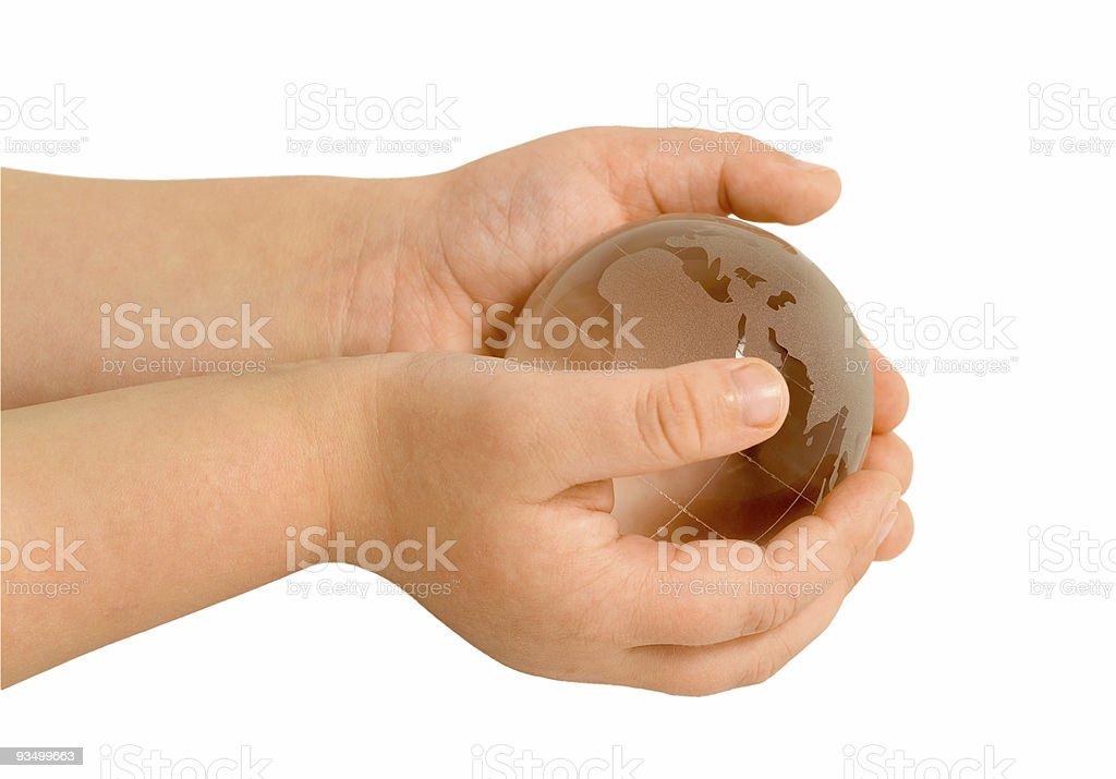 baby hands with globe royalty-free stock photo