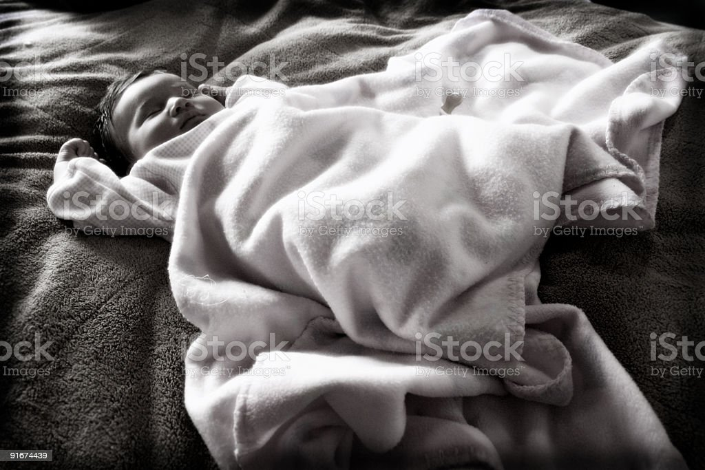 Baby in a Blanket stock photo