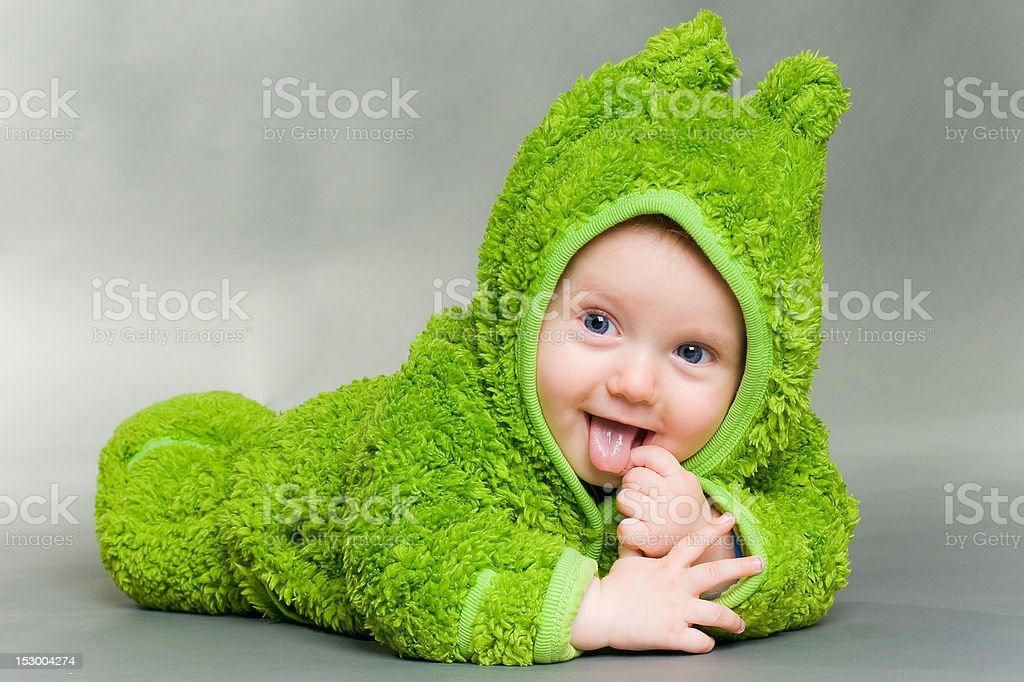 baby in a frog outfit royalty-free stock photo