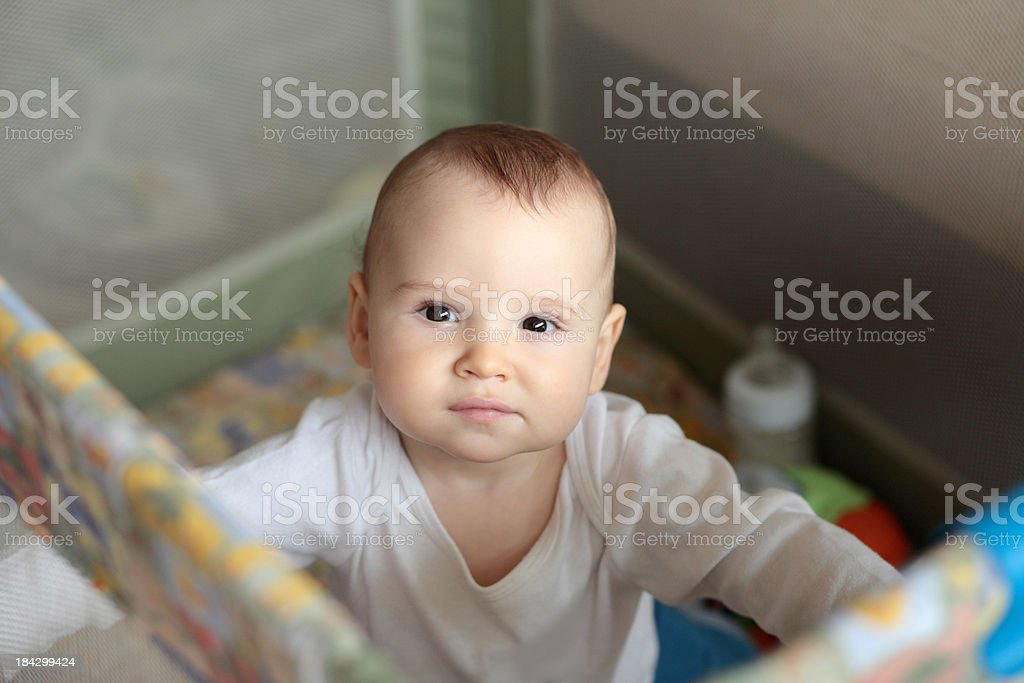 Baby in a playpen stock photo