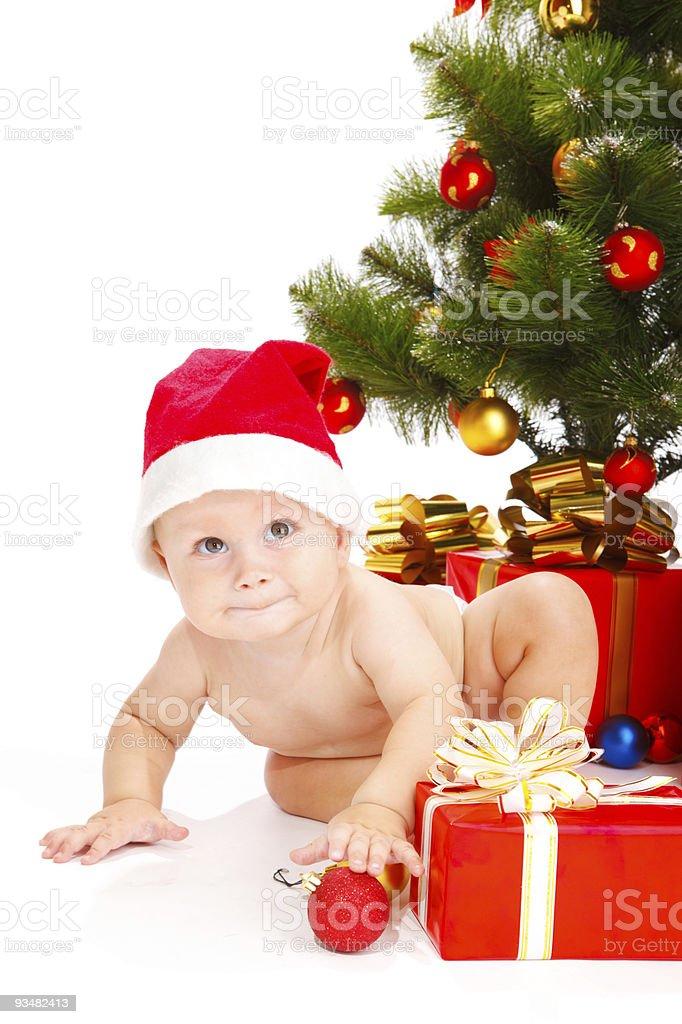 베이비 인 크리스마스 모자 - 로열티 프리 12월 31일 스톡 사진
