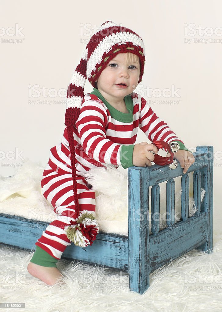 Baby in Christmas Outfit Pajama royalty-free stock photo