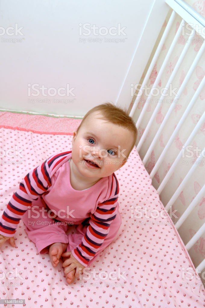 Baby in Cot royalty-free stock photo