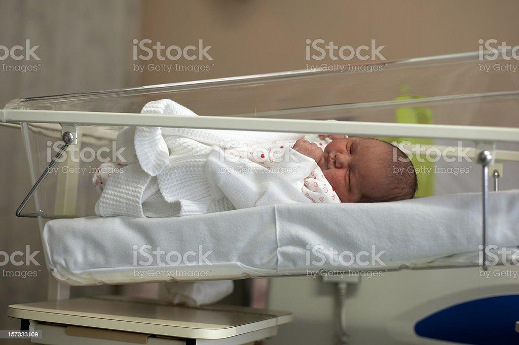 Baby in maternity ward cot full length stock photo