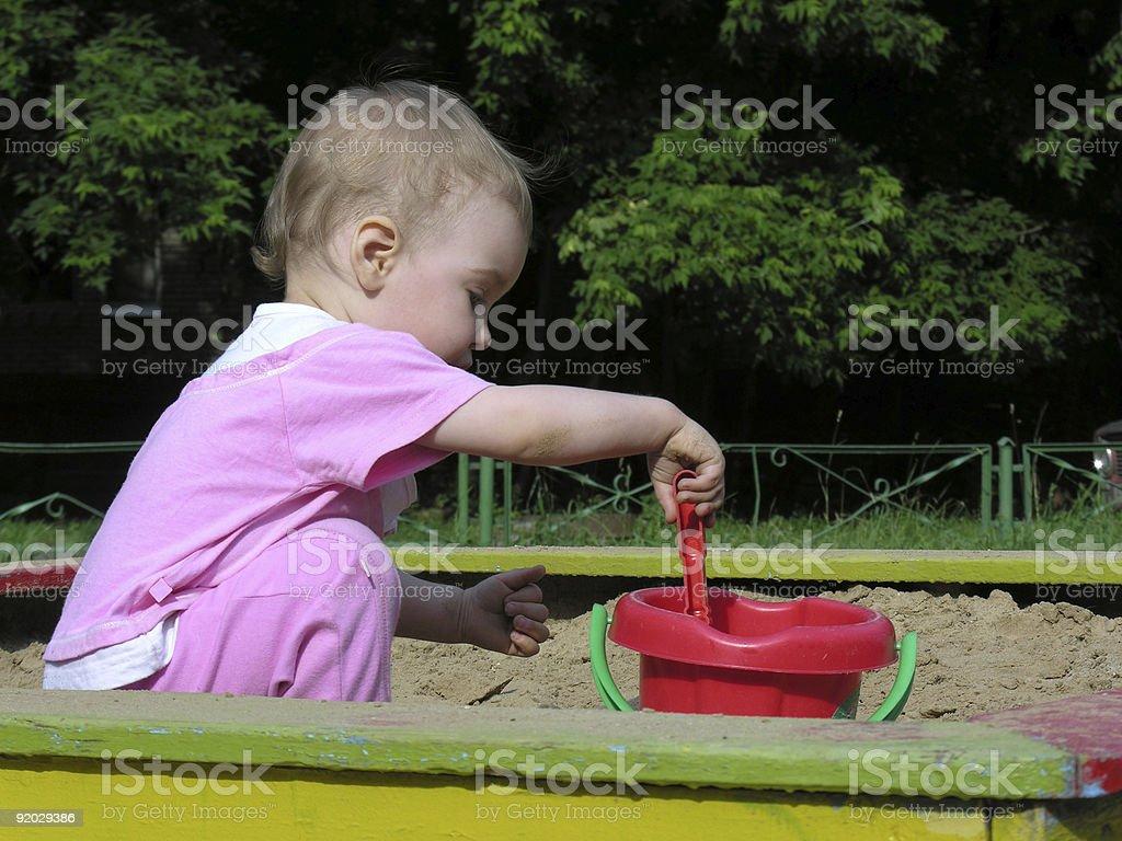 baby in sandbox royalty-free stock photo