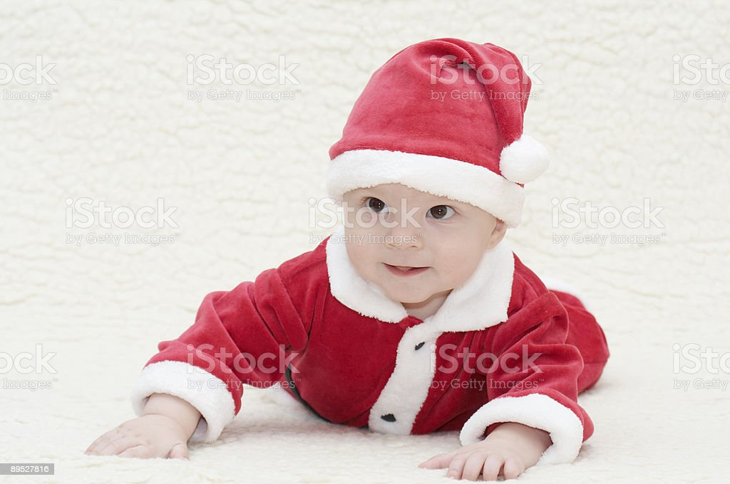 baby in santa's suit royalty-free stock photo